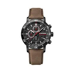 Wenger Herren Roadster Black Night Chronograph - Swiss Made Analog Quarz Edelstahluhr 01.1843.107 von WENGER