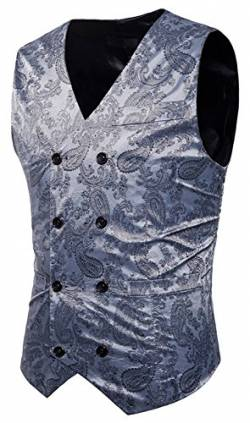 WHATLEES Herren Enge Anzugweste aus Jacquard Smoking mit glitzerndem Paisley Muster, B933-lightgray, L von WHATLEES