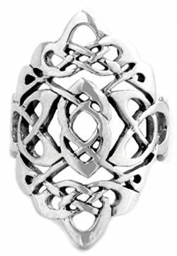 WINDALF Bohemian Statement-Ring RIGANI 26 mm Keltischer Knoten Irischer-Schutz-Ring 925 Sterling-Silber (Silber, 52 (16.6)) von WINDALF