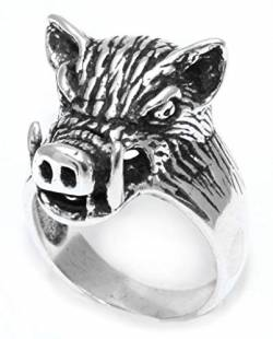 WINDALF Vikings Statementring Wildschwein-Ring SAEHRIMNIR 20 mm Wilder Eber Wikinger Krafttier 925 Sterlingsilber (Sterlingsilber, 20) von WINDALF