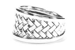 WINDALF Wikinger Ring Loki 14 mm Flechtmuster 925 Sterlingsilber (Silber, 66 (21.0)) von WINDALF