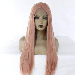 WJGSS Sexy Rosa lange glatte Haare lange Pony Mode voller Cosplay Party Perücken Lace Front Perücke ,Synthetic Hair Lace Front Wigs für Frauen Perücken 20 Zoll von WJGSS