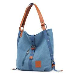 Canvas Damen Tasche Casual Damen Single Shoulder Bag Multifunktionaler Rucksack Bucket Messenger Backpack 32 * 12 * 35cm Blau von WPYLY