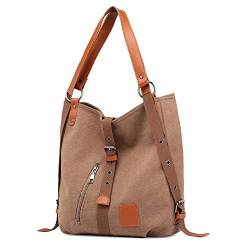 Canvas Damen Tasche Casual Damen Single Shoulder Bag Multifunktionaler Rucksack Bucket Messenger Backpack 32 * 12 * 35cm Kaffee von WPYLY