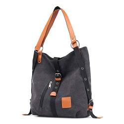 Canvas Damen Tasche Casual Damen Single Shoulder Bag Multifunktionaler Rucksack Bucket Messenger Backpack 32 * 12 * 35cm Schwarz von WPYLY