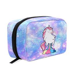 Unicorn Farting Rainbow Galaxy Kosmetiktasche Make-up-Box Federmäppchen, Tag} Reise-Kulturbeutel Aufbewahrungstasche Organizer Halter für Frauen Mädchen Frauen Outdoor von Wamika