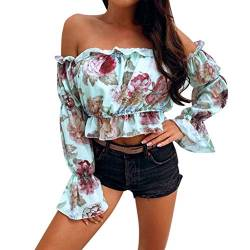Weant Damen T-Shirt Sommer Kurzarm mit Rückenfrei Floral Drucken 3/4-Arm Sexy Katze Drucken Casual Mode Lässige Lose Sexy Crop Mode Tunika Kurzarm Oberteil Tops Bluse Shirt von Weant T-Shirts