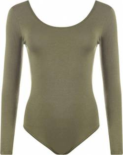 WearAll - Damen Body elastisch Langarm Bodysuit Top - Khaki - 36-38 von WearAll
