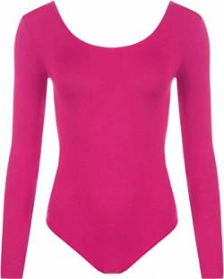 WearAll - Damen Body elastisch Langarm Bodysuit Top - Cerise - 40-42 von WearAll