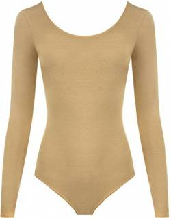 WearAll - Damen Body elastisch Langarm Bodysuit Top - Kamel - 40-42 von WearAll