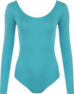 WearAll - Damen Body elastisch Langarm Bodysuit Top - Türkis - 36-38 von WearAll
