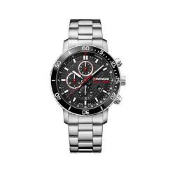 Wenger Herren Roadster Black Night Chronograph - Swiss Made Analog Quarz Edelstahluhr 01.1843.106 von WENGER