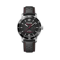 Wenger Herren Roadster Black Night - Swiss Made Analog Quarz Edelstahl/Leder Uhr 01.1841.101 von WENGER