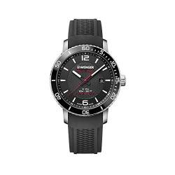 Wenger Herren Roadster Black Night - Swiss Made Analog Quarz Edelstahl/Gummi Uhr 01.1841.102 von WENGER