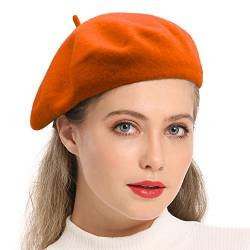Wheebo Damen Wolle-Barett-Hut, Solid Color Französisch Art-Winter-warme Kappe (Mandarine) von Wheebo
