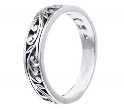WINDALF Fairy Ring LUCIA h: 0.4 cm Feenhafte Ornamentik Midi-Ring 925 Sterlingsilber (Silber, 50 (15.9)) von Windalf
