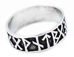 Windalf Wikinger Ring FUTHARK h: 0.9 cm Runen 925 Sterlingsilber (Silber, 54 (17.2)) von Windalf