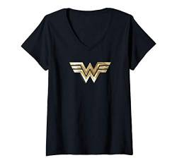 Damen Wonder Woman 1984 Golden Logo T-Shirt mit V-Ausschnitt von Wonder Woman