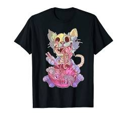 Pastel Goth Aesthetic Kawaii Creepy Cat Eating Ramen Noodles T-Shirt von Wowsome!
