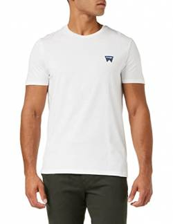 Wrangler Herren Sign Off Tee T-Shirt, Weiß (White 312), Small von Wrangler