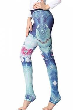 YACUN Damen Leggings Galaxy Yogahose Damen Sport Leggings Jogginghose Yoga Grün XL von YACUN