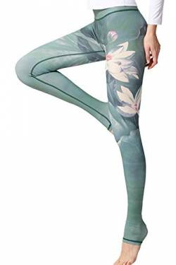 YACUN Damen Leggings Galaxy Yogahose Damen Sport Leggings Jogginghose Yoga Grün55 XL von YACUN