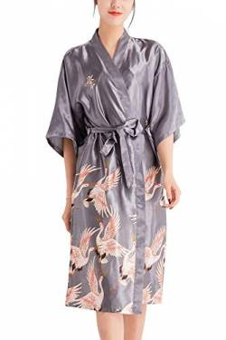 YAOMEI Damen Kran Morgenmantel Bademäntel Satin Kimono, Lang Nachtwäsche Nachthemd Robe Kimono Negligee locker Schlafanzug Spa Hotel Sauna Braut, Brautjungfer, Party, Bridal Shower (X-Large, Silber) von YAOMEI