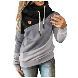 Damen Langarm Sweatshirt Pullover Casual Kapuzenpullover Lose Tunika Bluse Oversized Top Frauen Plus Size Langarm Sweatshirt Shirts Tops Latzhut Kordelzug Farbanpassung Pullover (L, 4 Schwarz) von YINGXIONG