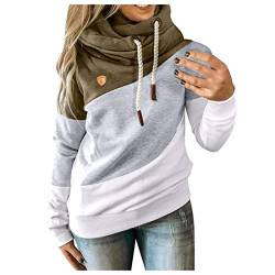 Damen Langarm Sweatshirt Pullover Casual Kapuzenpullover Lose Tunika Bluse Oversized Top Frauen Plus Size Langarm Sweatshirt Shirts Tops Latzhut Kordelzug Farbanpassung Pullover (M, 4 Armeegrün) von YINGXIONG
