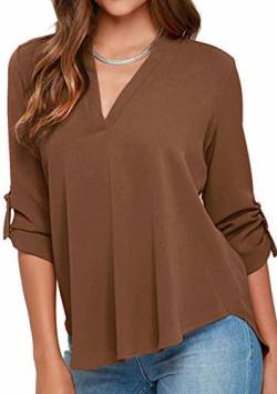 YMING Frauen Classic Farbe Chiffon Shirt Sexy Casual Bluse Sommer Shirt Tops Kaffee M von YMING