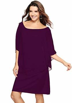 YMING Womens Oversize Batwing Ärmel Kleid Plus Size Cocktail Party Prom Kleid Midi Kleid Lila M von YMING