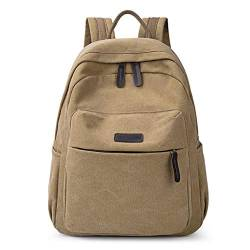 Große Kapazität Reisetasche Vintage Schultasche Laptopfach Rucksack Vintage Casual Canvas Bag Backpack Khaki von YOUCAI