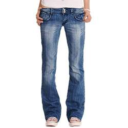 YOUCAI Damen Regular Fit Stretch Straight Jeans Basic Boot-Cut Jeans Schlaghose Hüftjeans Weites Bein Denim Hose Schlagjeans,Blau 1,3XL von YOUCAI