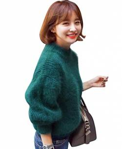 YOUJIA Mohair Strickpullover Stricken Pullover Strick Damen Strickpullis Winterpullover Strickwaren Pullis Laterne Hülse Lose Sweater Frauen Blau von YOUJIA