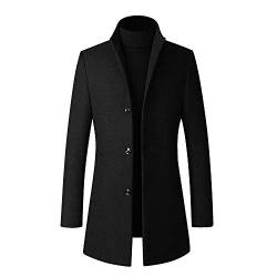 YOUTHUP Herren Wintermantel Slim Fit Lang Business Dufflecoat Einfarbige Warme WollMantel von YOUTHUP