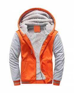 Yesgirl Herren Kapuzenpullover mit Reißverschluss Langarm Kapuzenjacke Winter Warm Fleece-Innenseite Sweatshirt Plus Dicke Fleecejacke Sweatjacke Mit Kapuze B Orange X-Large von Yesgirl
