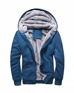 Yesgirl Herren Kapuzenpullover mit Reißverschluss Langarm Kapuzenjacke Winter Warm Fleece-Innenseite Sweatshirt Plus Dicke Fleecejacke Sweatjacke Mit Kapuze D Blau Medium von Yesgirl