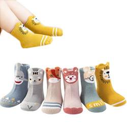 YianBestja Baby Socken Stoppersocken Anti-Rutsch Babysocken Kinder Kleinkinder Antirutschsocken für Baby Jungen und Mädchen (Farbe A, 1-3 Jahre) von YianBestja