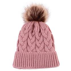 Yinuoday Baby Strickmütze Mütze Winter Warme Wolle Säuglingskleinkind Kids Crochet Beanie Cap New (Rosa) von Yinuoday