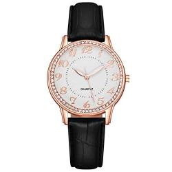 Analog Quarz Uhren für Damen Luxus Mode Mosaik Kristall Diamanten Armbanduhr mit Lederarmband Frauen Klassische Elegant Dial Damenuhr(Schwarz) von Yiwanjia