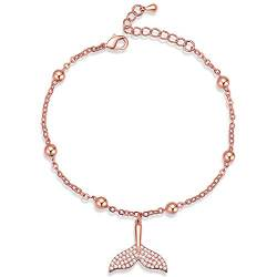 YooAi Charm Armband Einstellbare Strass Fußkettchen Armband Whale Mermaid Tail Love Alphabet Armband Rose Gold Tail von YooAi