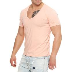 87T3 Young & Rich 1315 V-Neck Herren T-Shirt V-Ausschnitt Slim Fit Rosa M von Young&Rich