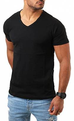 Young & Rich Herren Basic T-Shirt mit tiefem V-Ausschnitt deep v-Neck Vintage Look körperbetonte Passform YR-120, Grösse:3XL, Farbe:Schwarz von Young&Rich