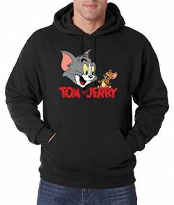 Youth Designz Herren Hoodie Kapuzenpullover Modell Tom & Jerry, Schwarz, XL von Youth Designz