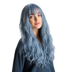 YunYoud-Perücke Mischfarbe lange lockige Perücke Lila Blau Spitzeperücken Mischfarbe Lila Blau Haar Long Straight Synthetic Lace Front Perücke, Purple Blau Farbverlauf Wig for Women von YunYoud-Perücke