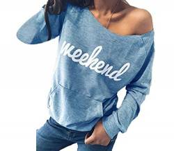 Yutila Women Off Shoulder Long Sleeve Shirt Casual Letter Printing Pattern Tops Sweatshirt, Blue, Gr. M von Yutila