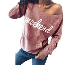 Yutila Women Off Shoulder Long Sleeve Shirt Casual Letter Printing Pattern Tops Sweatshirt, Rosa, Gr. M von Yutila