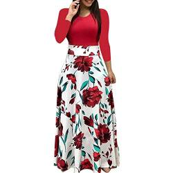 Yuwegr Langarm Damen Kleider Mode Boho Floral Print Lange Frauen Kleid Casual Kurzarm Dress Party Maxikleid S-5XL (2XL, Rot) von Yuwegr