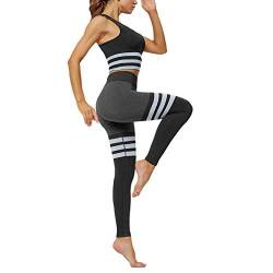 Yying Frauen Sport Active Wear Gym Yoga Fitness Workout Kleidung Legging Set Jogging Anzüge für Training Damen Sport BH Hosen von Yying