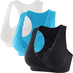 ZUMIY Schwangerschaft Still-BHS für Stillen und Schlaf, Damen Lace Baumwolle Mutterschafts-Still-BH,Nahtlose,Racerback Sleep Top (M (Fits for 75B/75C/75D), Black+White+Lake Blue /3pack) von ZUMIY